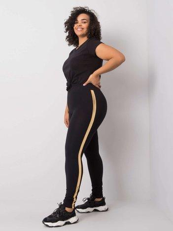 Czarno-złote legginsy plus size z lampasami Charlotta
