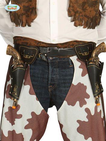 Czarno-złote pistolety Kowboja z kaburami i paskiem