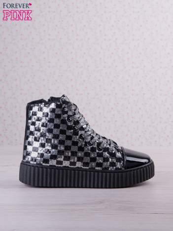 Czarnosrebrne sneakersy Kailey z cekinami w szachownicę