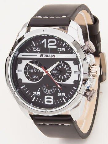 Czarny Sportowy Męski Zegarek z Chronografami na Tarczy