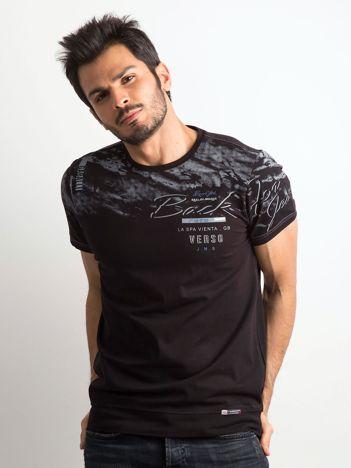 Czarny bawełniany męski t-shirt z nadrukiem