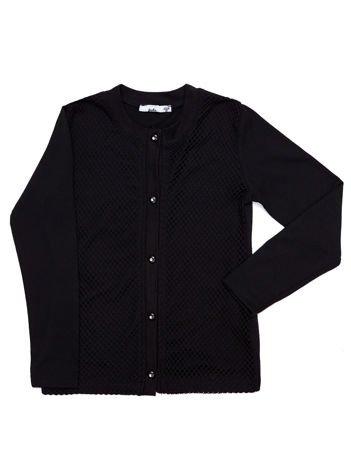 Czarny bawełniany sweter dziewczęcy rozpinany z ażurowaniem