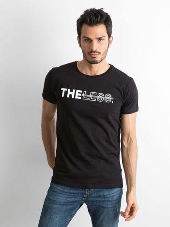 Czarny bawełniany t-shirt męski z nadrukiem