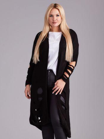 Czarny długi sweter z dziurami PLUS SIZE