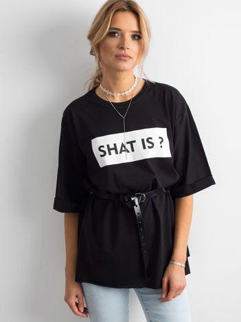Czarny długi t-shirt damski z napisem