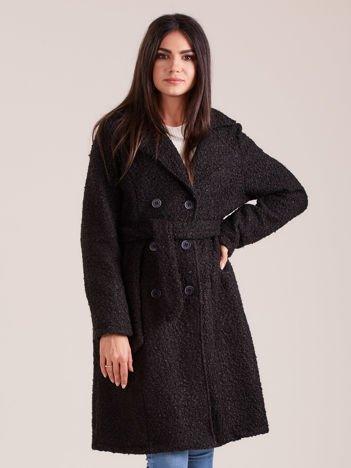 Czarny dwurzędowy płaszcz boucle