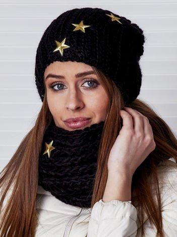 Czarny komplet z gwiazdkami czapka i komin