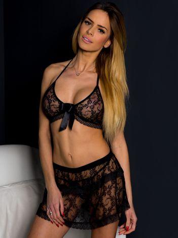 Czarny koronkowy komplet nocny bikini ze spódniczką 3 elementy