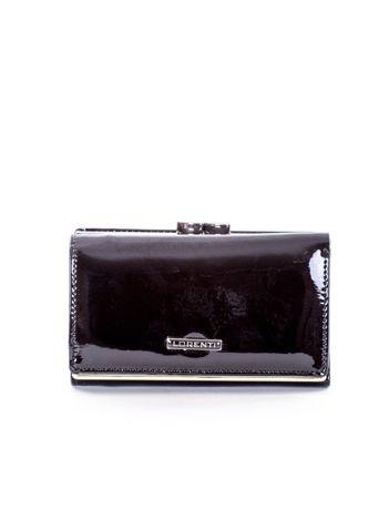 Czarny lakierowany portfel damski