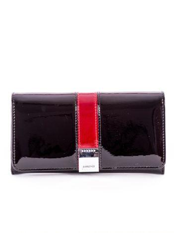 Czarny lakierowany portfel skórzany z kolorowym modułem
