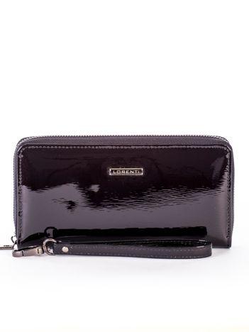 Czarny lakierowany portfel skórzany z uchwytem