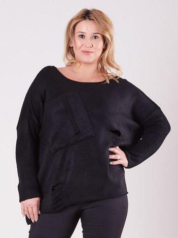 Czarny luźny sweter PLUS SIZE