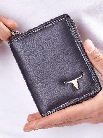 Czarny męski portfel skórzany na suwak