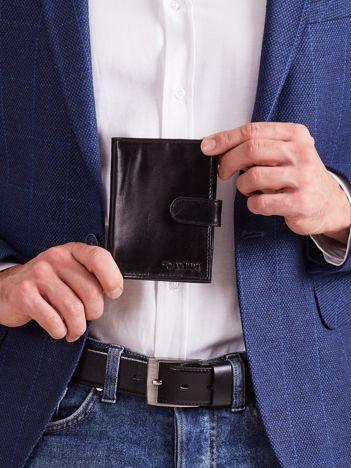 Czarny męski portfel skórzany z zapięciem
