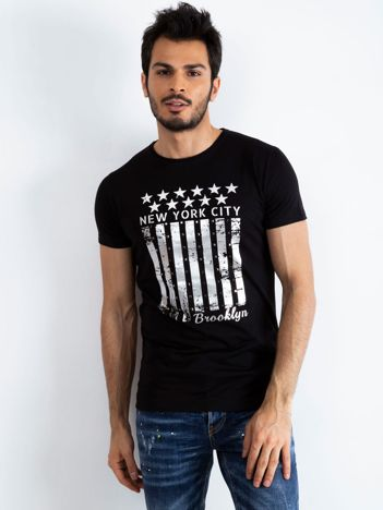 Czarny męski t-shirt Designed