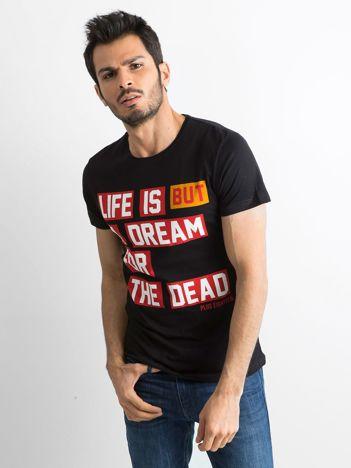 Czarny męski t-shirt bawełniany z napisem