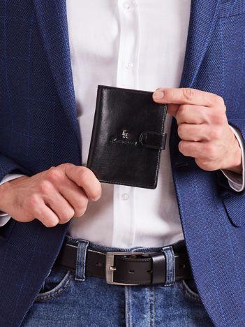 Czarny pionowy skórzany męski portfel