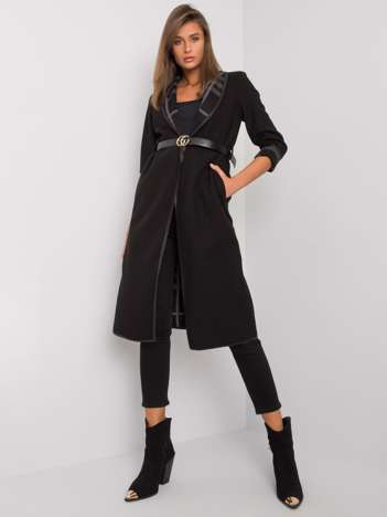 Czarny płaszcz z paskiem Annis