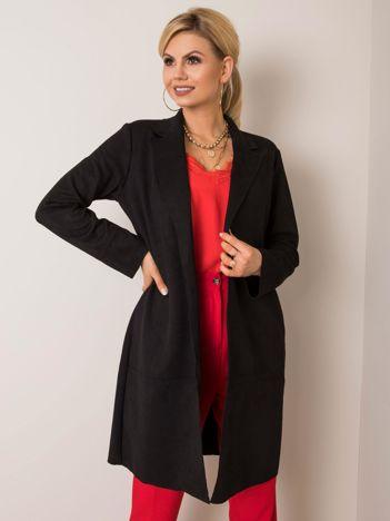 Czarny płaszcz zamszowy Sellina STITCH & SOUL
