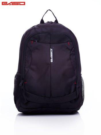 Czarny plecak szkolny z bocznymi kieszonkami