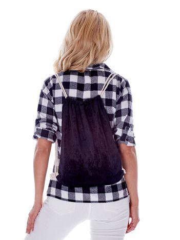 Czarny plecak worek welurowy ze sznurkami