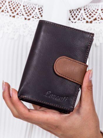 Czarny portfel damski z brązową klapką