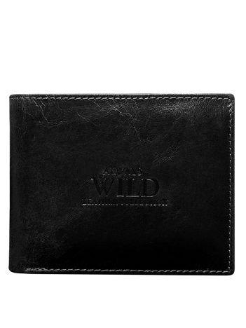 Czarny portfel męski bez zapięcia