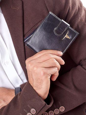 Czarny portfel męski z paskiem na zatrzask