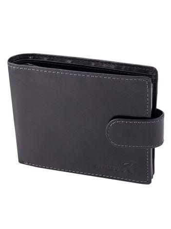 Czarny portfel skórzany męski z zapięciem