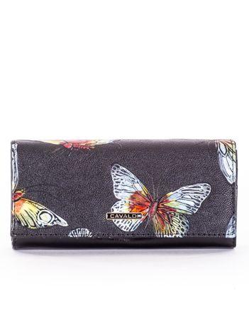 Czarny portfel skórzany w kolorowe motyle
