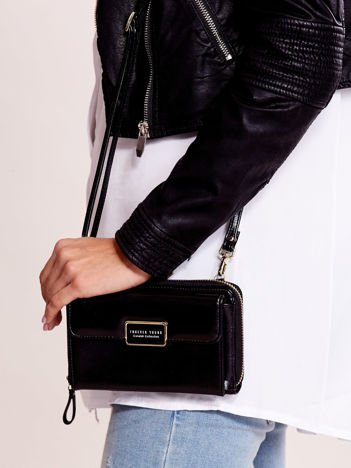 Czarny portfel-torebka z odpinanym paskiem