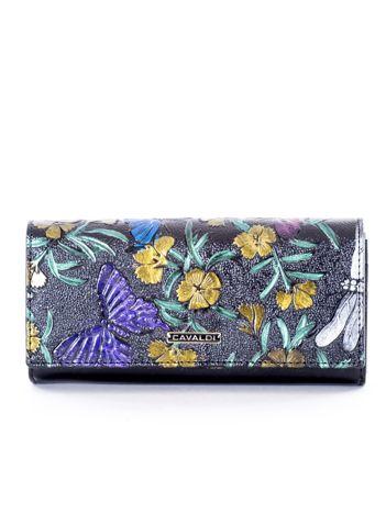 Czarny portfel w kolorowe motyle