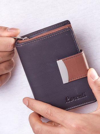 Czarny portfel z brązowym wykończeniem