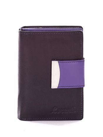 Czarny portfel z fioletowym wykończeniem