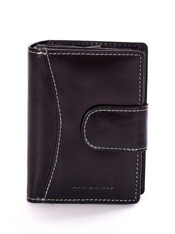 Czarny portfel z przeszyciami