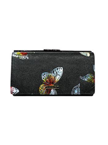Czarny portfel ze skóry w kolorowe motyle