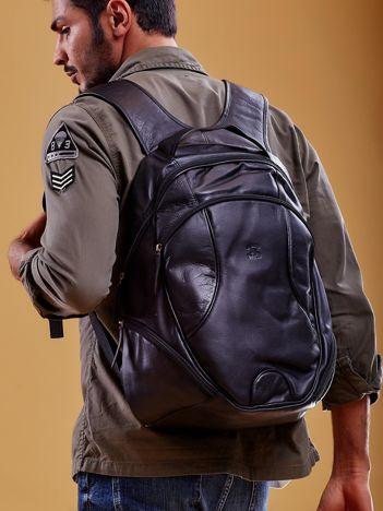 Czarny skórzany plecak męski w stylu motocyklowym