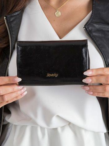 Czarny skórzany portfel dla kobiety
