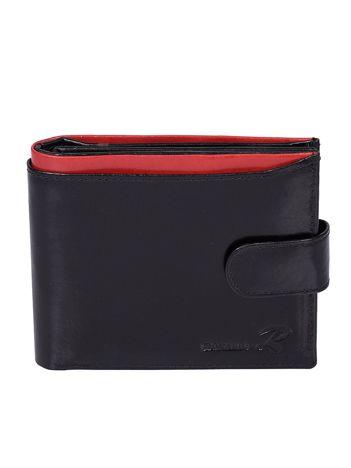 Czarny skórzany portfel dla mężczyzny z czerwoną wstawką zapinany