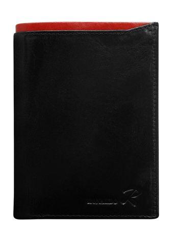 Czarny skórzany portfel męski z czerwonym modułem