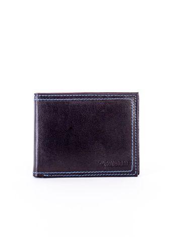 Czarny skórzany portfel męski z eleganckim niebieskim obszyciem