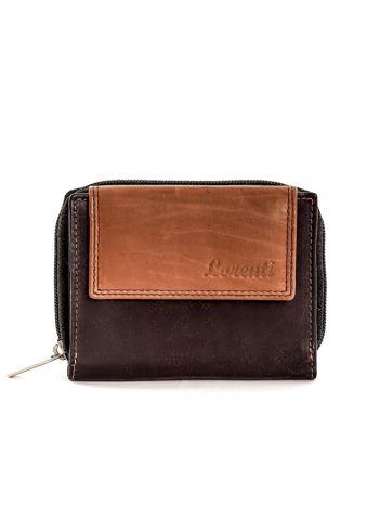Czarny skórzany portfel z brązową klapką