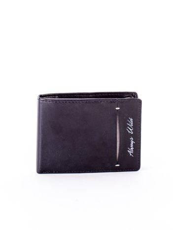 Czarny skórzany portfel z rozcięciem