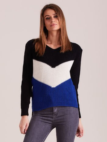 Czarny sweter color block