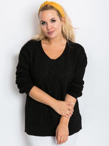 Czarny sweter plus size Flower