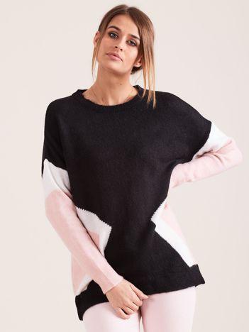 Czarny sweter z motywem geometrycznym