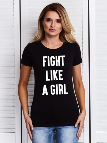 Czarny t-shirt FIGHT LIKE A GIRL z nadrukiem