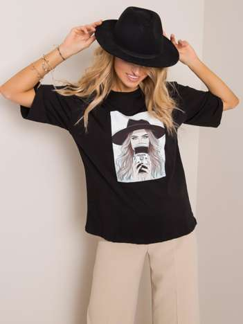Czarny t-shirt Madame RUE PARIS
