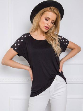 Czarny t-shirt Mary RUE PARIS