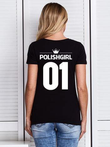 Czarny t-shirt POLISH GIRL z nadrukiem z tyłu